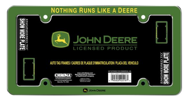 John Deere License Plate Frame