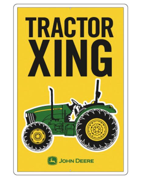 Tractor Crossing Metal Sign