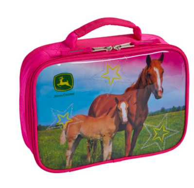 pink lunchbox with two horses and stars