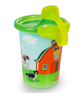 sippy cup with red barn and animals