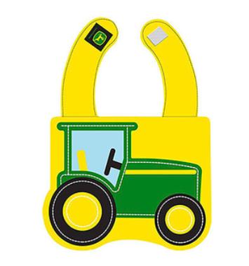 yellow bib with green tractor logo
