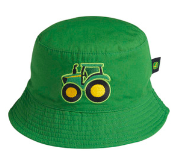 green bucket hat with tractor graphic