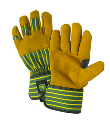 brown work gloves with yellow and green stripes