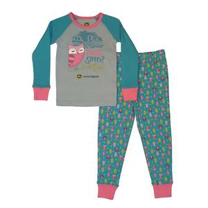 """<img src=""""barn owl pajamas.jpeg"""" alt=""""Long sleeved pajama set with pink owl on shirt and blue pants"""">"""