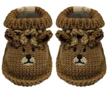 "<img src=""deer booties.png"" alt=""Brown knit baby booties with antlers and face design"">"