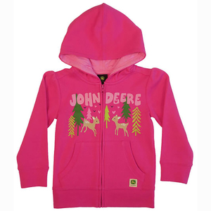 "<img src=""little deer in the forest hoodie.jpeg"" alt=""Pink zip-up hoodie with animals and trees on front"">"