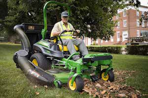 Landscapers can use the three-bag Material Collection System to easily round up material clippings while mowing.