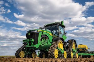 The 8RX Tractors provide more surface area of contact, less ground pressure, and less slip than wheel tractors.