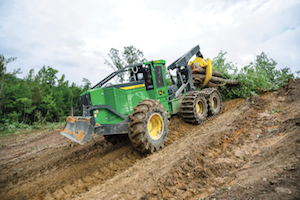 The 768L-II Bogie Skidder packs 281 horsepower and comes with heavy-duty bogie axles.