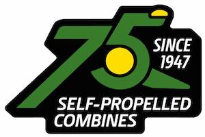 To recognize over seven decades of manufacturing and selling self-propelled combines, a 75th-anniversary decal will be applied to every combine that leaves the factory